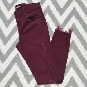 Express Legging Fit Mid Rise Ankle Maroon Jeans